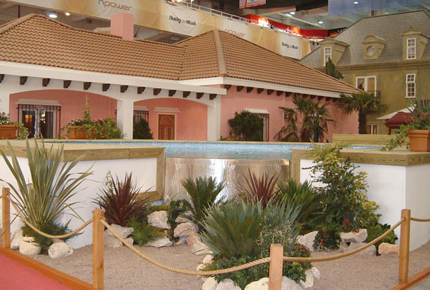 Mediterranean villa built indoors for exhibition stand
