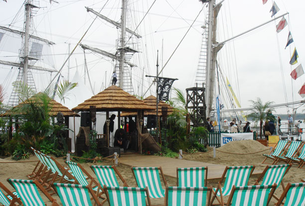 Beach theme exterior exhibition stand