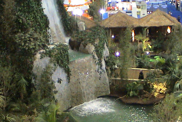 Indoor waterfall in exhibition hall