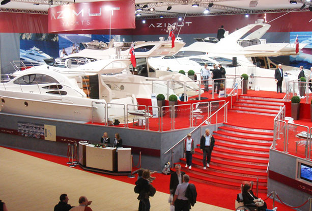 Large boats on Azmut Yachts exhibition stand