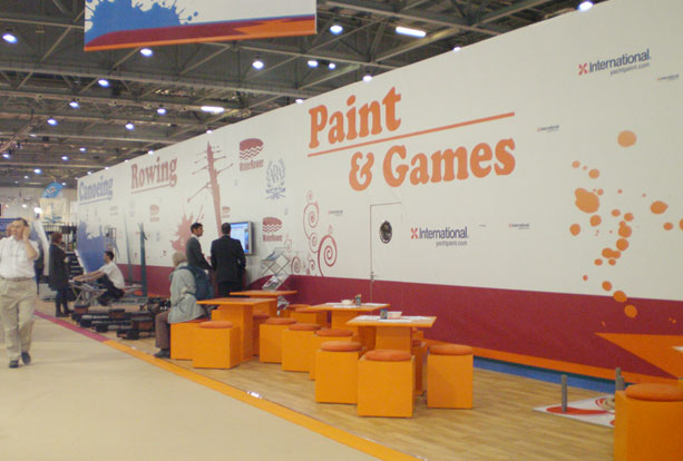 Deck Games exhibition stand with rowing, canoeing and paint & games areas